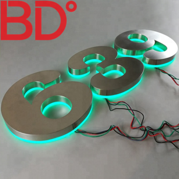 Custom acrylic light up sign 3d led sign backlit metal stainless steel house numbers and letters