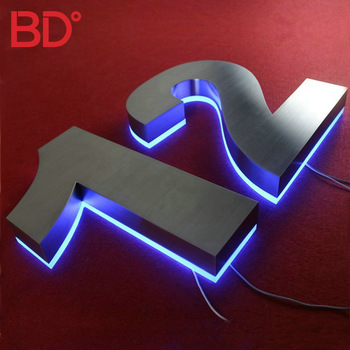 Alibaba house number 3D acrylic LED sign backlit stainless steel letters