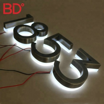 house number 3D acrylic LED sign backlit stainless steel letters