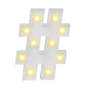 Hashtag Symbol Night Art Lights letter LED Alphabet Wall Decor up Words led sign for Wedding Birthday Party Christmas Home Bar