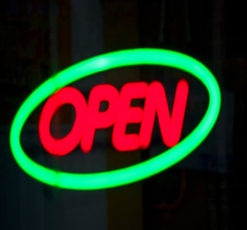 Different Colors led neon lighted open sign with business hours in acrylic