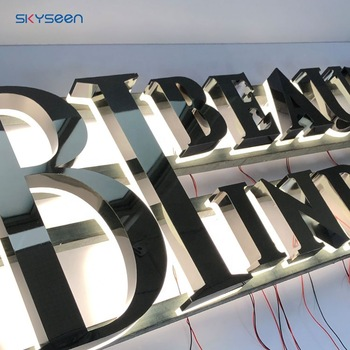 Stainless Steel Alibaba Sign In Backlit Led Light 3D Letters