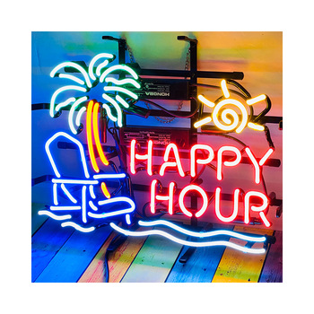 Happy Hour Palm Tree chair neon sign AL20 LED neon sign