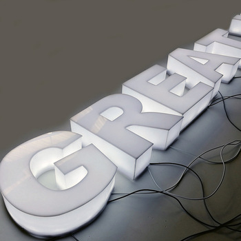 Outdoor Led Commercial White Color Full Lit Acrylic Face Sign Full Lighting Channel Letters Signs