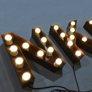 Custom Outdoor 3D Led Rusted Metal Decoration Light Up Advertising Letter Sign