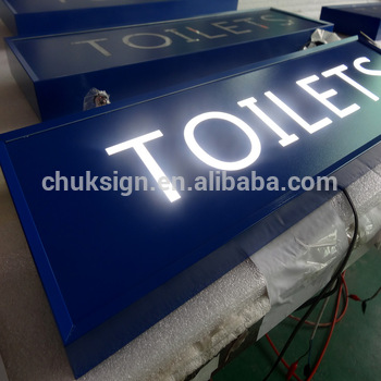 Illuminated TOILETS white Front-lit LED light box sign