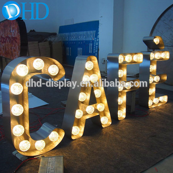 Free sign up Vintage marquee cafe metal large letter sign light up letters for cafe shop signs for shopping mall