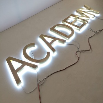 Stainless Steel Mirror Gold Wall Light Up Letters 3D LED backlit letter sign