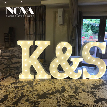Wedding/holiday stainless steel alphabet led large light marquee letter sign for wedding decoration