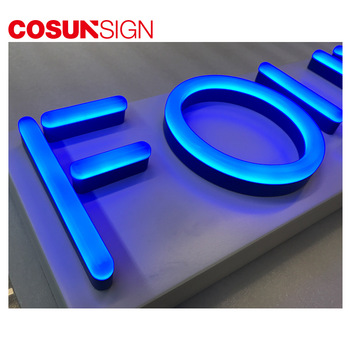 faux neon sign made of clear or opaque acrylic led lighting up and changeable