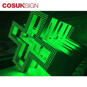 green color led pharmacy cross used sign