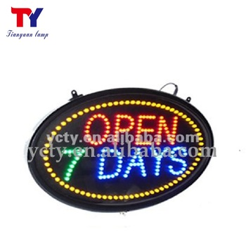 Outdoor waterproof electric Oval 7 DAYS LED OPEN Sign