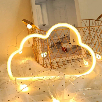 14*6 Inch Yellow Bedroom Wall Decor Lamp Handmade Small Glass Neon Sign