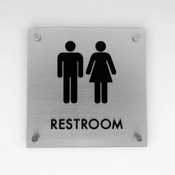 Restrooms Bathroom Sign Wall Mounted Night Light  Toilet for Handicapped Office Public Men Women Toilet Signage