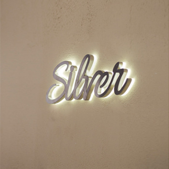 LED Sign Logo Customized  Stainless Steel Channel Letter Electroplated  Backlit Acrylic Signage