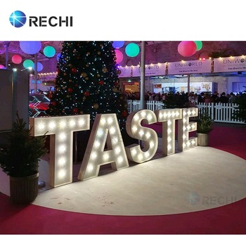 RECHI Outdoor Advertising Light Box Signage 3D Led Illuminated Bulb Light Channel Sign Letters 3D Acrylic LED Neon Light Sign