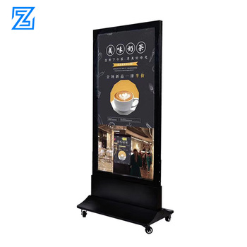 Mobile portable outdoor stand signage led floorstanding standalone coffee shop signage