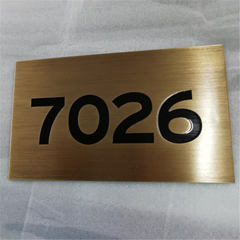 Etch stainless steel signage plate door number sign
