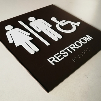 Acrylic sign plate print finish toilet room signage