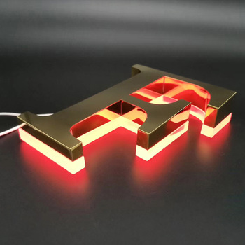 OEM 3D Letter  Metal Led  Gold Letter Light Stainless Steel mirror Letter Lights Electronic Led Signage outdoor