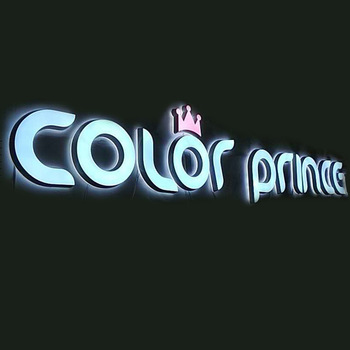 Wall mounted colorful acrylic frontlit and backlit shop name board design signage factory price