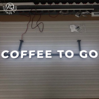 Custom shop wall metal face light word advertising signs backboard install customized lettering  wall signage beer outdoor sign