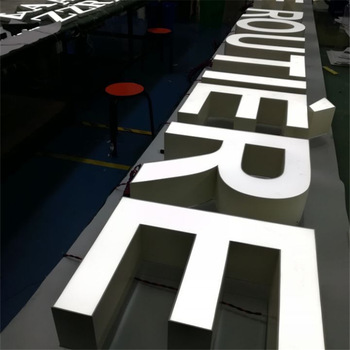 Metal polished channel letters signage illuminated metal channel logo