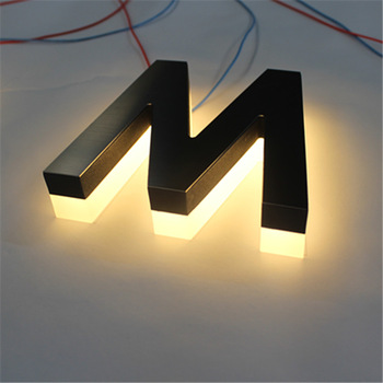 Led sign display backlit stainless steel letters sign for building signage